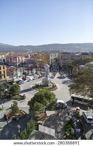 Gemlik, Turkey - May 20, 2015: Looking-down view of Gemlik city center. Gemlik is a coastal town near Bursa, by the Sea of Marmara, Turkey. Taken on May 20th, 2015. #280388891