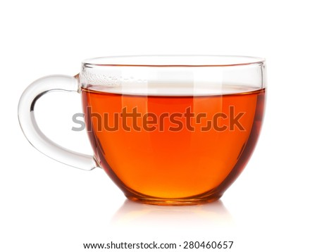 Glass cup of black tea. Isolated on white background #280460657