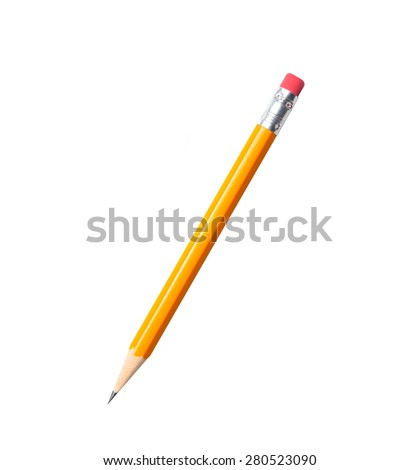 Amazing isolated tilted yellow pencil on pure white background. Royalty-Free Stock Photo #280523090