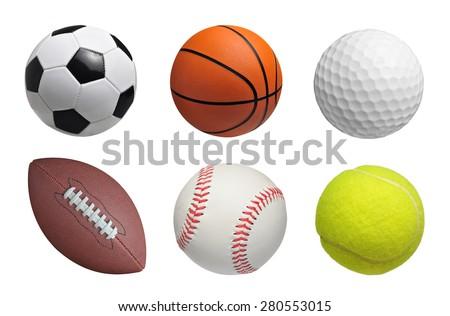 Set of balls isolated on white background Royalty-Free Stock Photo #280553015
