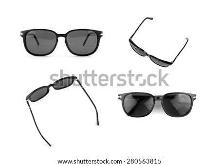 Cool sunglasses set isolated on white background, front and top view. #280563815