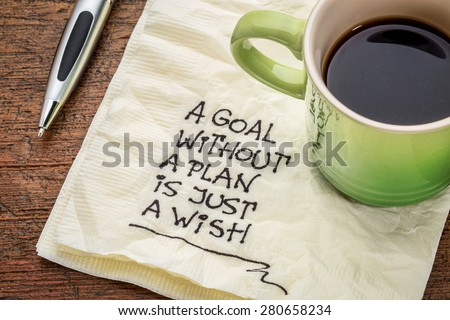 a goal without a plan is just a wish - motivational handwriting on a napkin with a cup of coffee Royalty-Free Stock Photo #280658234