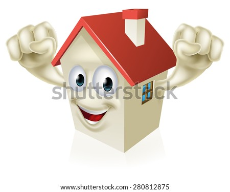 Happy Cartoon House Mascot character holding up fists in joy
