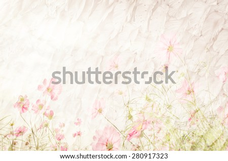Cosmos flowers in mulberry paper texture vintage style for background soft focus. #280917323