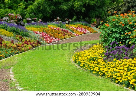 Blossoming flowerbeds in the park #280939904