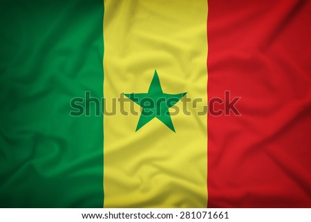 Senegal flag on the fabric texture background,Vintage style #281071661