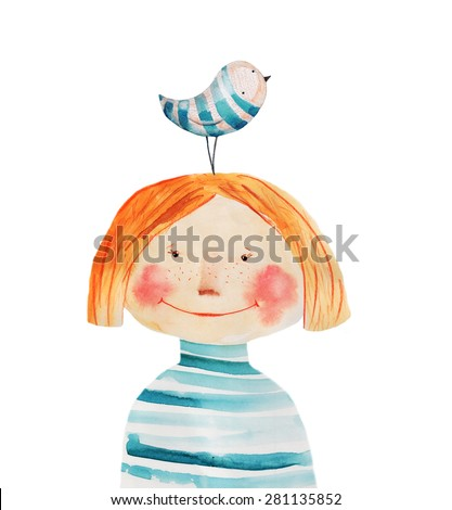 Girl in striped shirt with bird. Watercolor illustration. Hand drawing