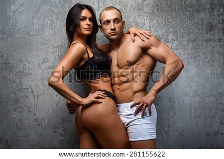 Sexy and fit couple in underwear  #281155622