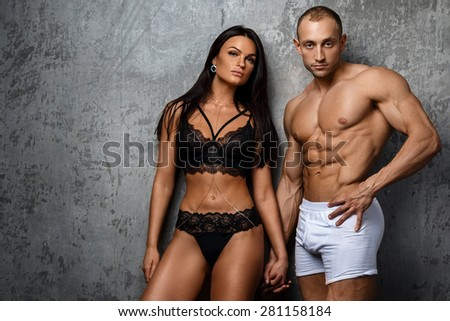 Sexy and fit couple in underwear  #281158184