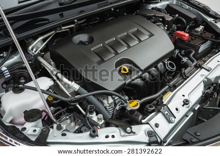 Close up detail of new car engine Royalty-Free Stock Photo #281392622