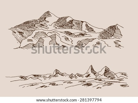 Rocky mountain scenery, with rocks, in engraving etching hand drawing sketch style, for extreme sport, adventure travel and  tourism design #281397794