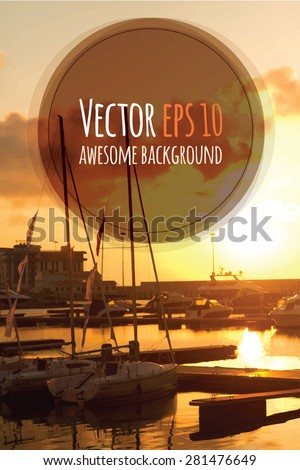 Seaside view poster. Vector background. Sailing yacht boats on ocean water at sunset.  Can be used for summer background, banners, posters and web page #281476649