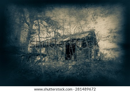 Abandoned cabin with creepy duaflex camera effect and scratches  #281489672