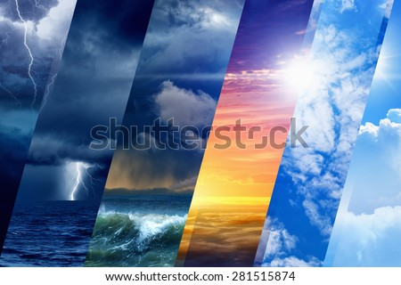 Weather forecast background - variety weather conditions, bright sun and blue sky; dark stormy sky with lightnings Royalty-Free Stock Photo #281515874