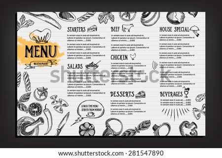 Cafe menu restaurant brochure. Food design template. Royalty-Free Stock Photo #281547890
