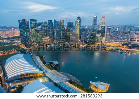 SINGAPORE - May 23, 2015: Singapore river and downtown at night #281583293