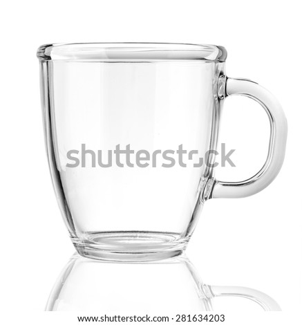 Empty glass tea cup. Isolated on white background #281634203