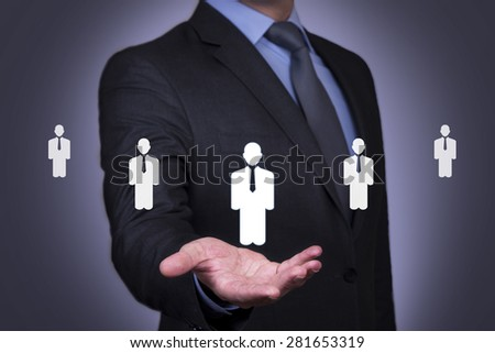 Person pushing hologram of human resource icon #281653319