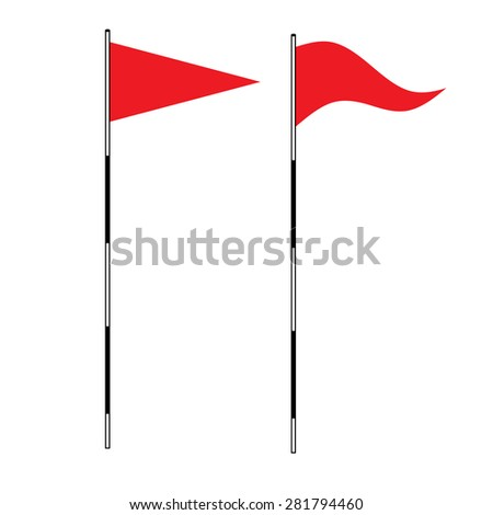 Golf equipment theme elements on isolated background.  illustration of Red golf flag. Flags of the golf course. Illustration on white background. Golf flags