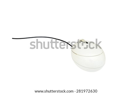 White computer mouse isolate on white background with dipping paths.  #281972630
