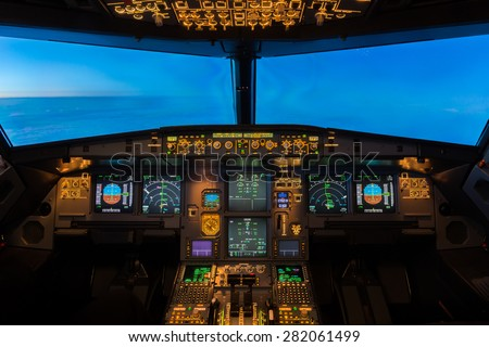 Jet Aircraft Cockpit. Royalty-Free Stock Photo #282061499