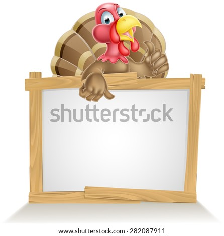 Cartoon turkey bird sign with cartoon turkey bird pointing at sign and giving a thumbs up