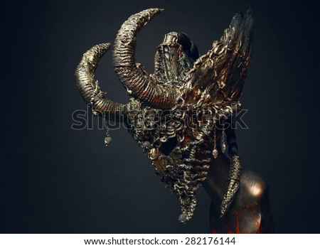 Scary steel mask with horns #282176144