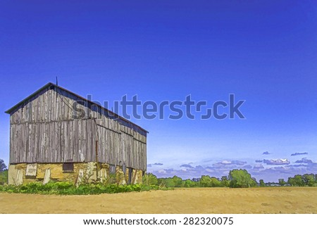 An old barn, retouched in PS for a cartooned and painted look. The barn is still in use for storage of hay. Photo taken in Kerwood, Ontario, Canada in May 2015.