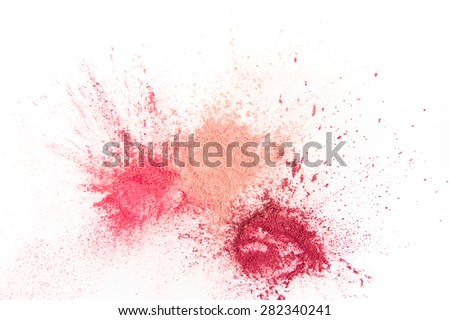 Splash of Natural Make up Tints  on White Background Royalty-Free Stock Photo #282340241