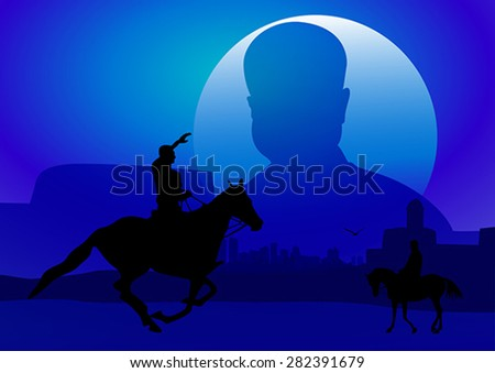 Silhouette illustration of riding a horse during sunset #282391679