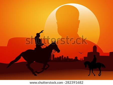 Silhouette illustration of riding a horse during sunset #282391682