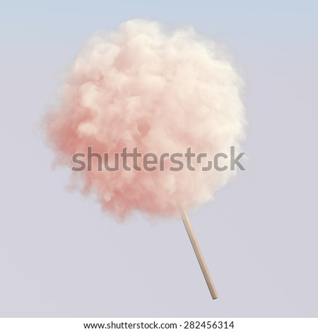 Pink cotton candy on wooden stick #282456314