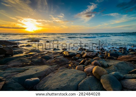 Dramatic sunset on the rocky beach, South Australia