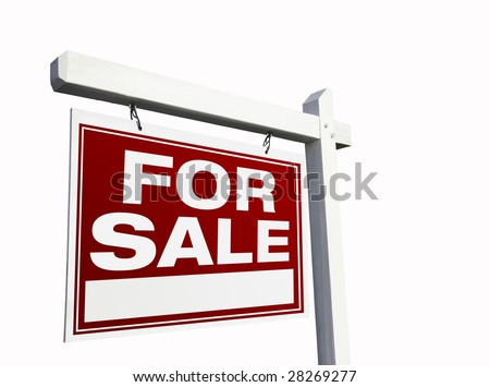Red For Sale Real Estate Sign Isolated on White. #28269277