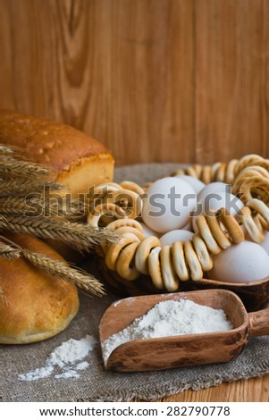 Composition with bread, eggs and flour #282790778