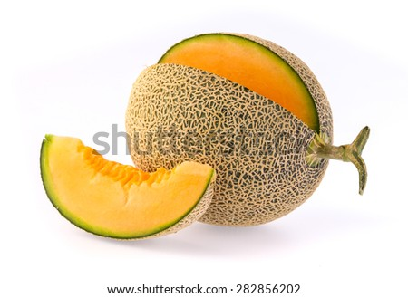 Fresh and ripe Cantaloupe isolated on white background #282856202