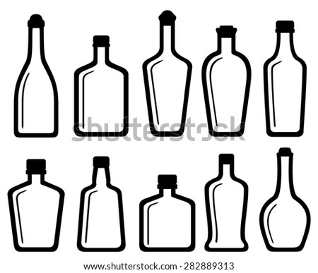 set isolated white glass alcohol bottles silhouette