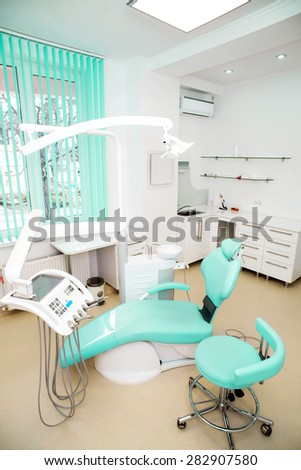 dental clinic interior design with chair and tools. #282907580