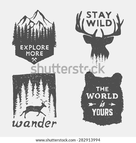set of wilderness hand drawn typography posters, emblems and quotes. artworks for hipster wear. vector Inspirational illustration  Royalty-Free Stock Photo #282913994