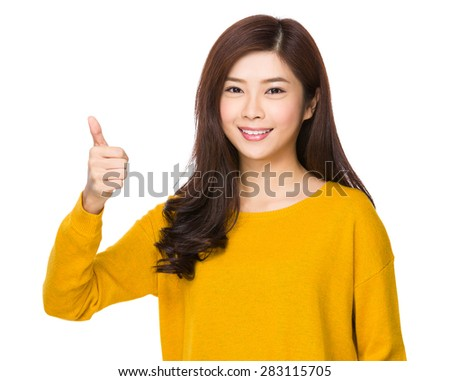 Asian woman with thumb up gesture #283115705