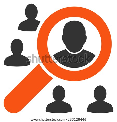 Marketing icon from Business Bicolor Set. Vector style: bicolor flat symbol, orange and gray colors, rounded angles, white background.