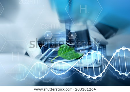 science, chemistry, biology and people concept - close up of scientist hand with microscope and green leaf making research in laboratory over hydrogen chemical formula and dna molecule structure Royalty-Free Stock Photo #283181264