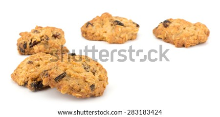 Fresh home made cookies with rasins isolated on white background #283183424