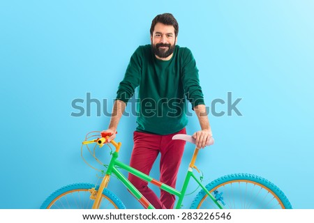 man on bike over colorful background #283226546