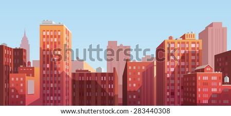 Sunset cityscape. Vector illustration. Royalty-Free Stock Photo #283440308