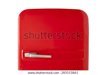 Old red vintage refrigerator isolated on white background #283553861