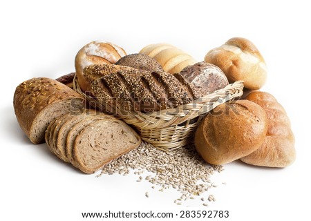 Assortment of different types of bread isolated on a white background #283592783