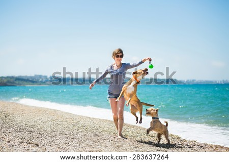 Beautiful girl in a blue blouse and shorts playing with dogs on the beach #283637264