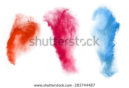Colorful powder explosion set isolated on white background #283744487