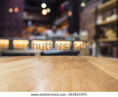 Blur bar restaurant with Table top counter  #283824395